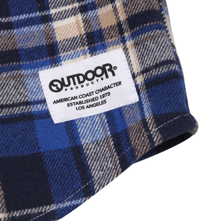OUTDOOR PRODUCTS 異素材切替チェック長袖ネルシャツ