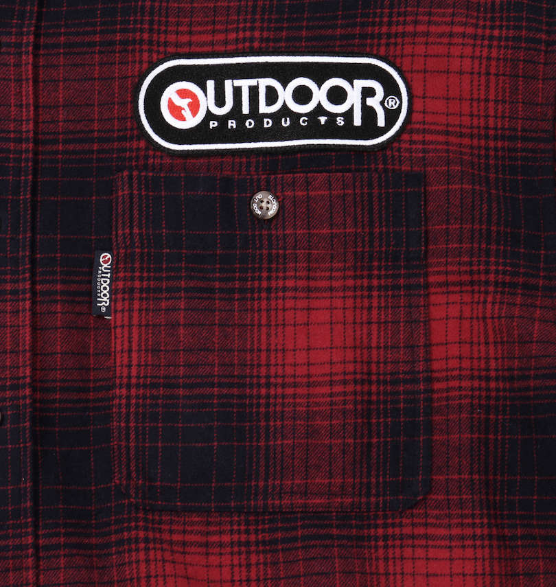 OUTDOOR PRODUCTS ワッペン付オンブレチェック長袖ネルシャツ 胸ポケット