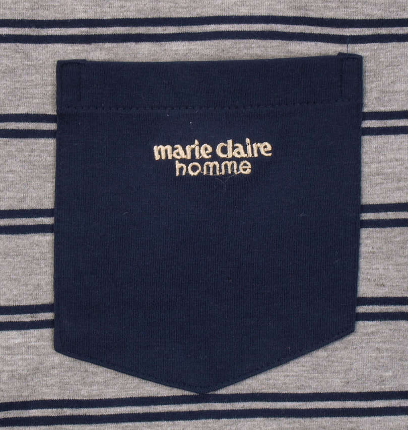 marie claire homme 天竺ボーダー半袖Tシャツ+ハーフパンツ ポケット