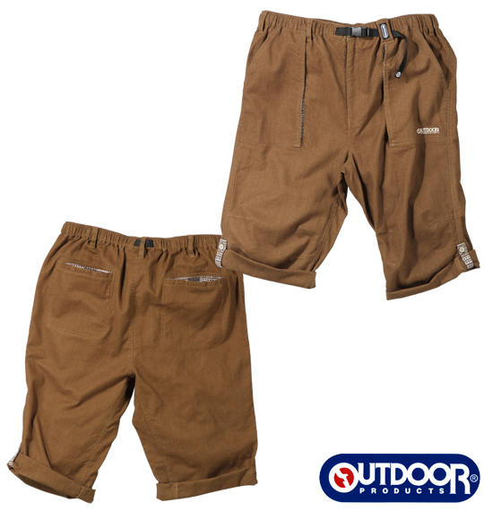 OUTDOOR PRODUCTS綿麻ロールアップハーフパンツ
